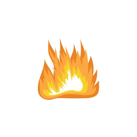 Fire flame, sign and symbol of power and danger, energy. Fire of campfire burns, simple icon and logo. Isolated flat vector illustration.