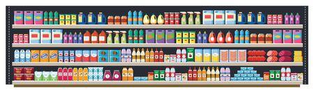 Étagère d'épicerie dans un supermarché ou un magasin de détail avec des produits, des aliments et des boissons, des bouteilles et des boîtes. Étagère d'épicerie dans un magasin et un marché avec un large assortiment de produits, illustration vectorielle à plat. Vecteurs