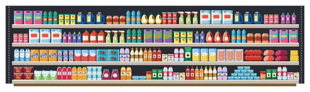 Grocery shelf in a supermarket or retail store with products, food and drinks, bottles and boxes. Grocery shelf in a shop and market with a large assortment of products, flat vector illustration. Ilustração