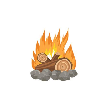 Big bonfire with burning logs in flat cartoon style isolated on white background. Yellow and orange campfire flame with brown pieces of wood set on hot blazing fire - hand drawn vector illustration Banque d'images - 131050894