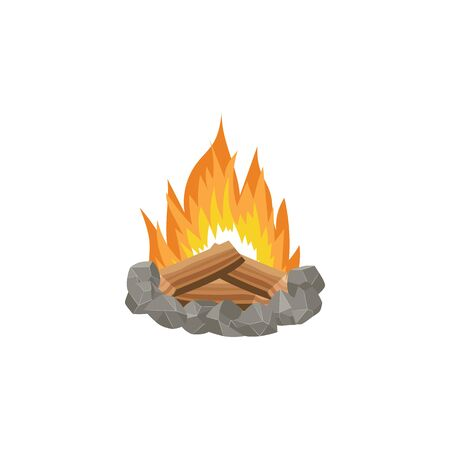 Stoned place for fire with burning firewood and flame cartoon vector illustration isolated on white background. Forest campfire or bonfire with woods icon or emblem.