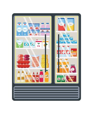Glass grocery shelf with various products in the store or supermarket. Big assortment of food and products on the grocery shelf of the market, store or supermarket. Isolated flat vector illustration.