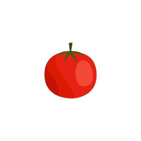 Red tomato drawing isolated on white background. Colorful fresh vegetable icon in flat cartoon style - single piece of healthy plant food vector illustration Illustration