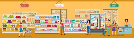 Shopping concept with people cartoon characters walking with shopping carts full of goods near shelves with food in a supermarket or grocery store. Flat vector illustration.