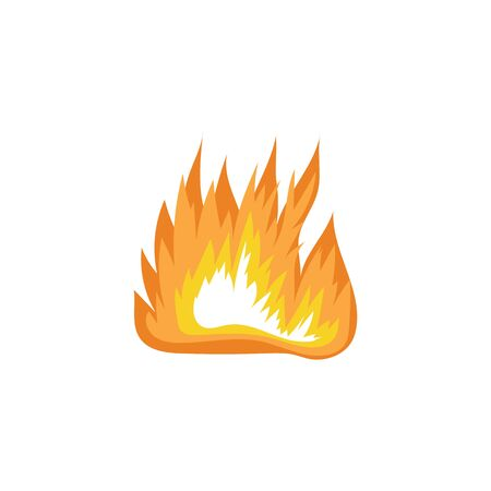 Burning blaze or fire flames sign or cartoon vector illustration isolated on white background. Icon of forest camping fire for game design, logo and warning banners.