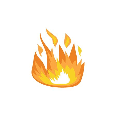 Logo and icon of burning hot flame of campfire and bonfire, isolated flat vector illustration.