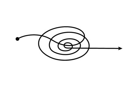 Spiral freehand scribble arrow with curved circular path going from one point to other direction, simple doodle sketch chaotic pen scrawl - problem solution concept isolated vector illustration