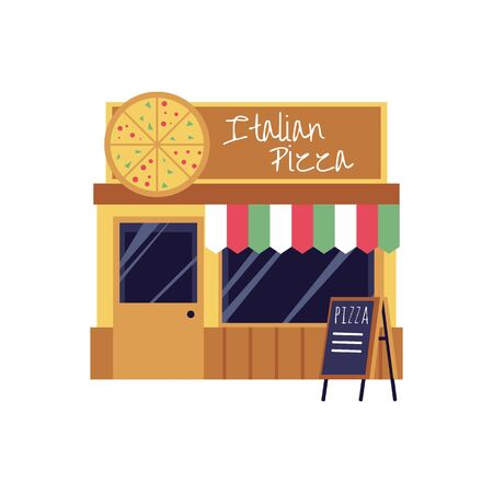Pizza restaurant and takeaway food shop building with giant pizza signboard, flat cartoon vector illustration isolated on white background. Italian cuisine street cafe. Stock Illustratie