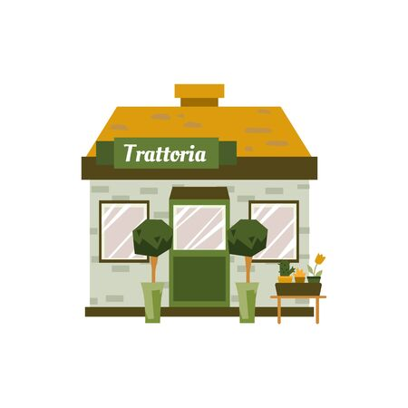 Small trattoria building exterior isolated on white background - cartoon front facade of little cafe decorated with house plants. Flat vector illustration. Illustration