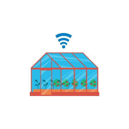 Opening greenhouse for ventilation with smart farming and agriculture automation technology apps, flat cartoon vector illustration. Distance control on harvest growth.