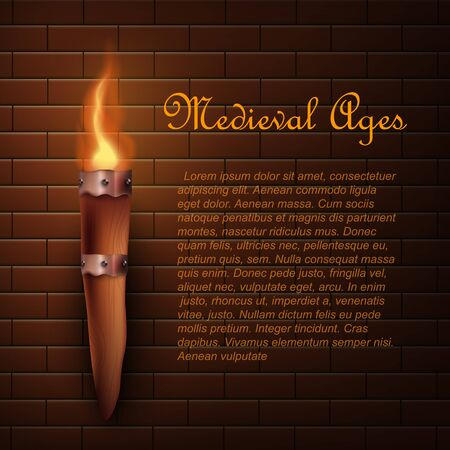 Medieval ages wooden torch with realistic fire hanging on brick wall - dark banner with text template lit by single wood stick with warm flame, vector illustration