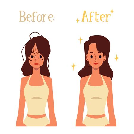 Before and after hair morning routine - cartoon woman with bad and good hairstyle from washing and styling. Isolated flat vector illustration on white background.