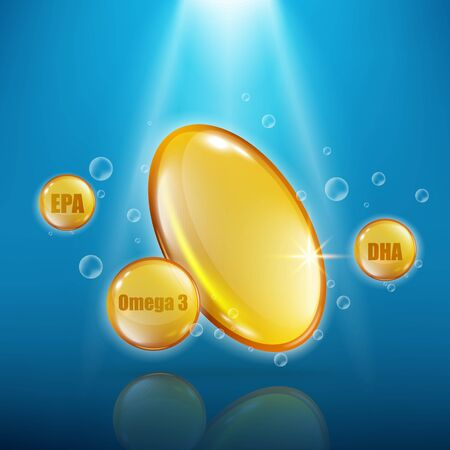 capsule ad poster template with golden fish oil capsule with gold sphere EPA and DHA pills floating in blue water with copy space - vector illustration  イラスト・ベクター素材