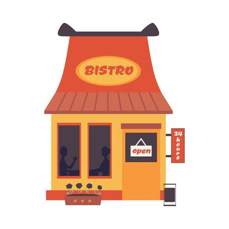 Cartoon bistro building front with open sign - fast food street restaurant facade isolated on white background. Exterior of cute small cafe, flat vector illustration.