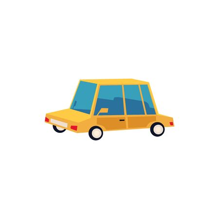 Icon and symbol of a small yellow toy auto and car, automobile and vehicle. Cute and funny toy transport car. Isolated cartoon car vector illustration.