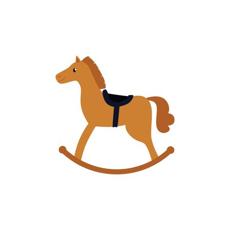 Cartoon rocking horse toy isolated on white background - childrens brown wooden play thing with black saddle. Flat vector illustration