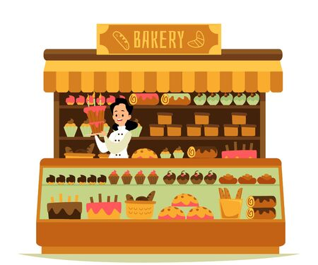 Bakery shop - cartoon chef baker woman holding big cake standing behind counter with sweet dessert pastry display on glass stand and shelves. Flat isolated vector illustration. Illustration