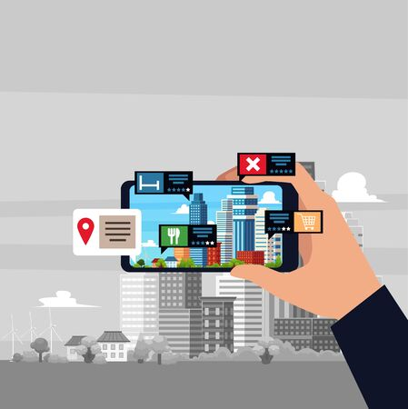 Augmented reality or future internet technology of virtual reality concept - smartphone with app showing location of services and shops, flat vector illustration. Иллюстрация