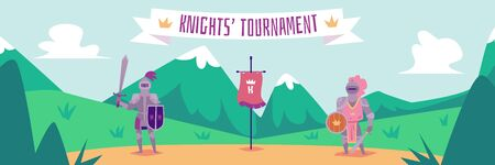 Knight tournament - flat cartoon banner with two fighters in metal armor standing in summer field holding sword and shield - historical fantasy event vector illustration Illustration