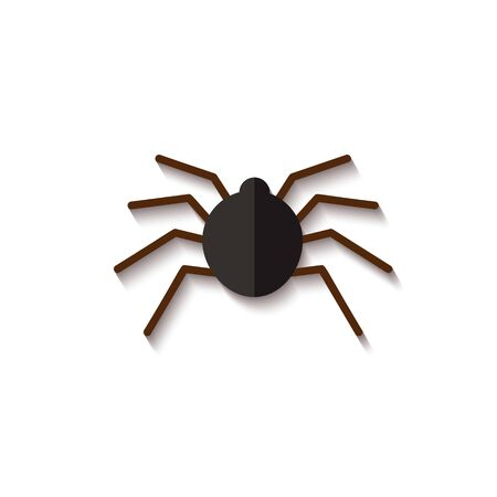 Black paper spider, spooky and scary insect for Halloween. Silhouette and icon of a flat paper spider, isolated vector illustration.