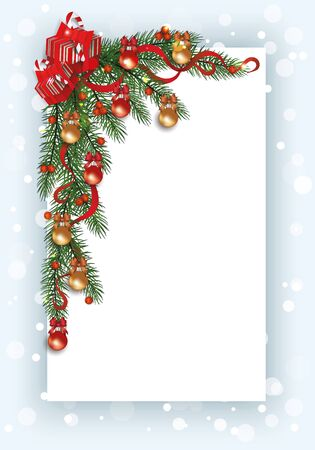 Christmas card template with pine tree branch corner border decorated with red berries, ribbons, baubles and gift boxes - festive decoration vector illustrationn.