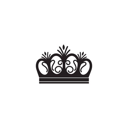 Arched queen crown icon isolated on white background - black flat silhouette of royalty symbol with curved arches and decorative elements. Vector illustration. Foto de archivo - 131320689