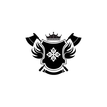 Heraldic shield badge with crown symbol and crossed axes. Flat cartoon icon with royal insignia and medieval decoration elements - isolated vector illustration