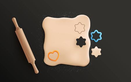 Isolated rolled cookie dough with cute heart and star cookie cutter shapes and realistic wooden rolling pin seen from top view - vector illustration on black background