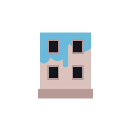 Blue painting of the house, icon of repair, reconstruction and decor. Isolated flat vector illustration of a painted building.