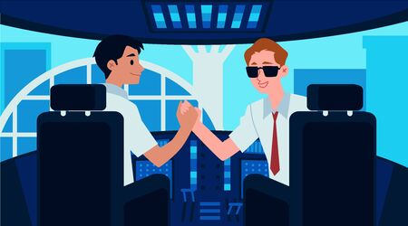 Airplane cockpit interior with cartoon captain and copilot shaking hands before liftoff and window view to airport terminal - pilot handshake flat banner vector illustration Illustration