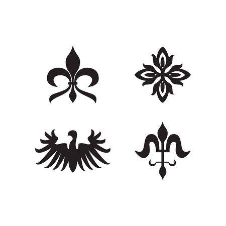 I simboli reali dell'araldica e le icone nere degli elementi decorativi hanno messo l'illustrazione di vettore isolata su fondo bianco. Sagome di emblemi animali e fiori vintage.