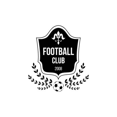 Football club logo with shield badge shape and soccer ball symbol decorated with wreaths - sport team insignia icon isolated on white background. Flat black vector illustration.