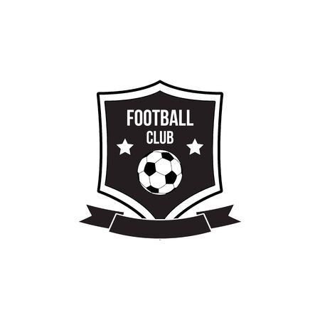 Football club black and white badge or emblem with ribbon and soccer ball icons on square shield frame, vector illustration isolated on white background. Sport club logo.