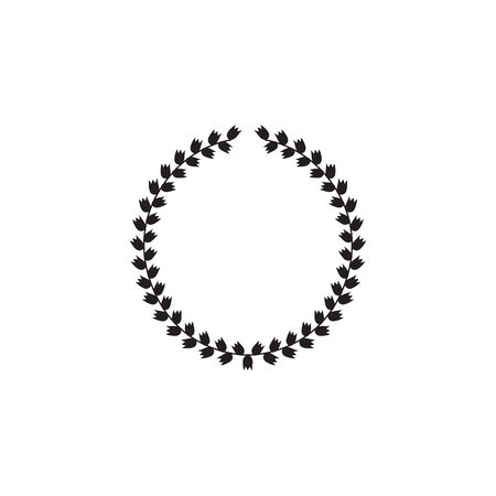 Silhouette of a round black Greek laurel wreath, symbol and emblem of victory. Flat vector isolated illustration of greek wreath icon.