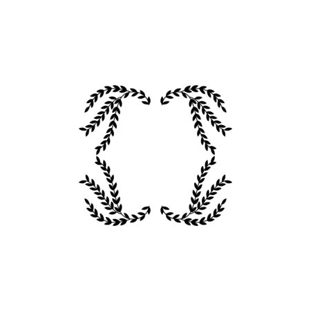 Isolated wreath curved in shield badge shape with blank copy space inside. Flat black silhouette of wavy laurel leaves branches forming heraldic shape - vector illustration.