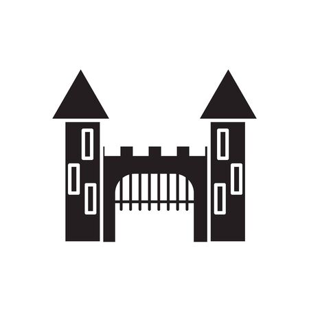 Medieval castle with towers and gate black icon silhouette vector illustration isolated on white background. Fortress tower fantasy building architecture element.