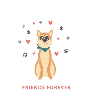 A funny brown dog and shiba inu pet are sitting in sunglasses and a scarf, around footprints and hearts. Cute animal dog Shiba Inu for greeting cards. Isolated vector flat illustration of a dog.  イラスト・ベクター素材