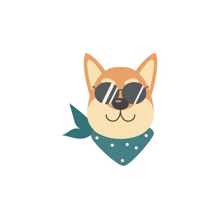 Happy and smiling face of a dog and a shiba inu pet in sunglasses and a scarf. Cute domestic purebred shiba inu dog, flat cartoon vector illustration.
