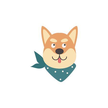 Cartoon Shiba inu head with tongue out isolated on white background - flat isolated dog face looking up with smile expression. Japanese animal vector illustration.