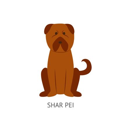 Brown shar pei dog drawing in flat cartoon style isolated on white background - wrinkly pet animal of Chinese breed sitting on the floor. Vector illustration. Ilustração