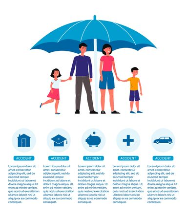Family insurance poster - cartoon people with children standing under umbrella. Home, money and medical protection ad text template - flat isolated vector illustration. Ilustrace