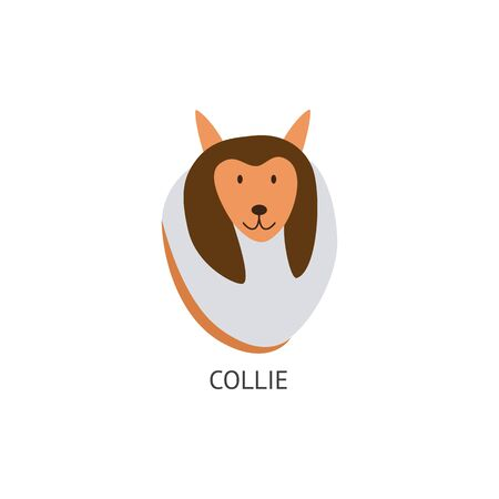 Head with the face of a cute brown collie dog. Dog, pet and animal icon concept, isolated cartoon flat vector illustration. 向量圖像