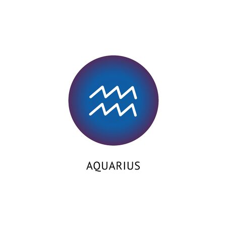 Sign of the zodiac and horoscope Aquarius. Flat vector isolated astrological aquarius icon. Flat vector illustration of a round and circle blue zodiac sign.
