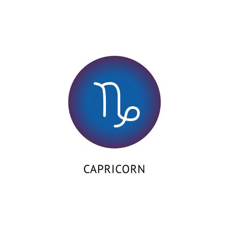 White Capricorn Zodiac symbol in blue circle icon - star sign horoscope glyph isolated on white background. Round button with astrology sign pictogram - vector illustration.