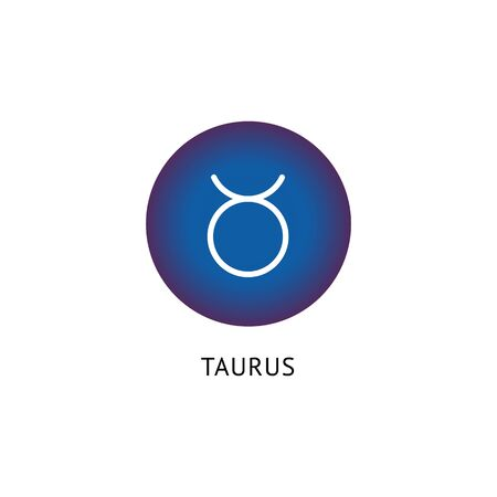 Taurus zodiac graphic icon on blue round tag, horoscope symbol vector illustration isolated on white background. One of twelve astrological constellations fortune sign. Ilustração