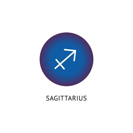Sagittarius zodiac icon on blue label, horoscope symbol vector illustration isolated on white background. Astrological constellations fortune sign for borned in November.