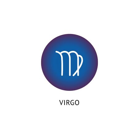 Virgo star sign icon in blue circle shape isolated on white background - Astrology symbol similar to letter M. Zodiac glyph element - vector illustration.