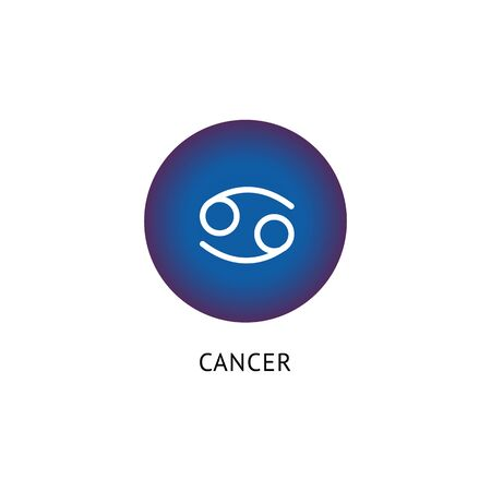 Astrology symbol, horoscope icon and zodiac sign Cancer. Flat isolated vector illustration with blue circle and zodiac sign Cancer. Ilustração