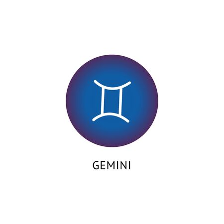 Gemini Zodiac star sign - blue isolated icon on white background. Astrological symbol for twins constellation, esoteric symbolism element vector illustration. Illusztráció