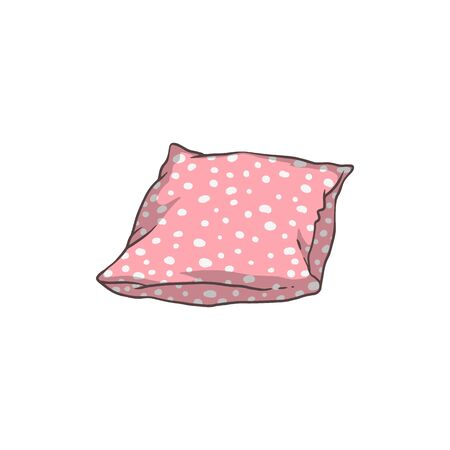 Cute pink pillow with white polka dot pattern lying isolated on white background, comfortable bed cushion drawing and bedroom interior decoration - flat vector illustration. 일러스트
